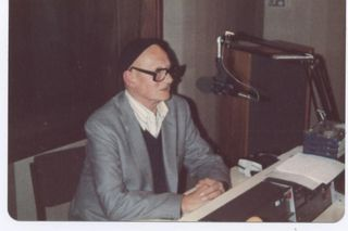 Melody Maker's Max Jones being interviewed on my radio show, c.1982 (Click for description)